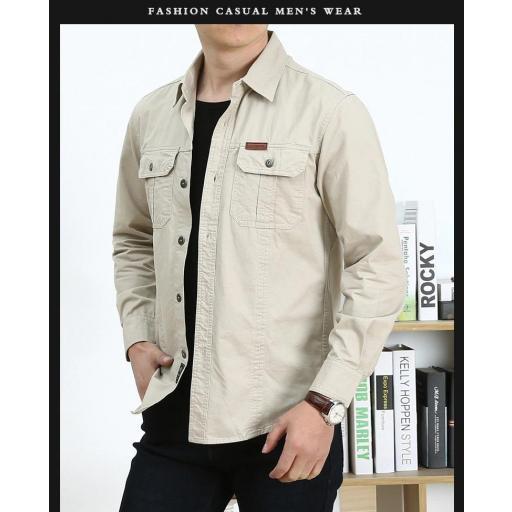 Camisa  Sport C/Beige  M/L  100% Algodon  Especial:  Caza, Off-Road, Senderismo, Pesca, Etc... [1]