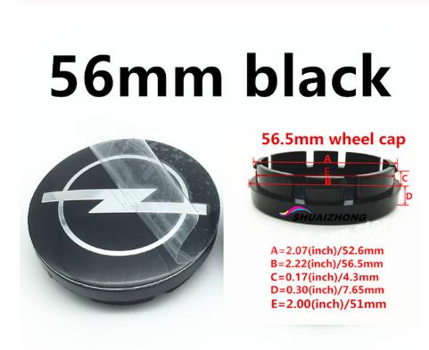 "Tapa  56 mm. Exterior Buje  Rueda  ""Opel"" Color Negro"