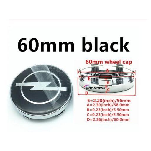 "60 * 57mm  (Aproximado)  Tapa Buje  Tapacubos Llanta Rueda  ""Opel"" Color Negro"