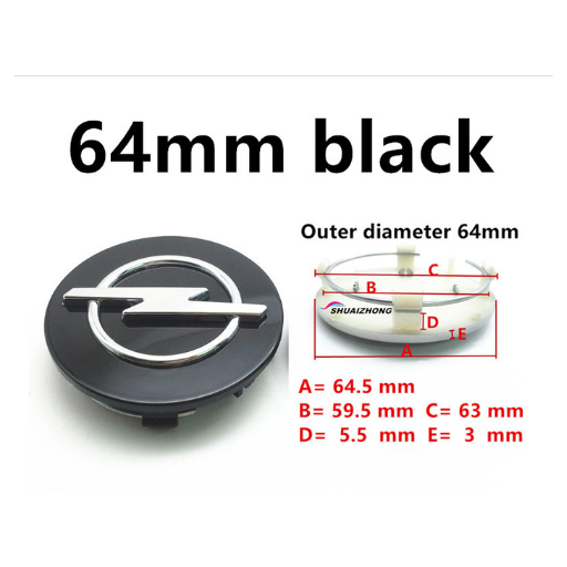 "Tapa  64 mm. Exterior Buje  Rueda  ""Opel"" Color Negro"