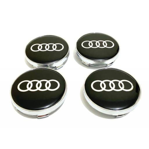 """61 x 57 mm. Tapa Buje Rueda """"Audi""""   Color  NEGRO Ref. 4M0 601 170   o   8W0 601 170"""