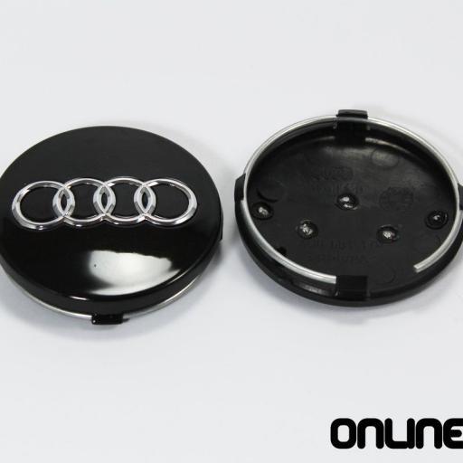 "60 x 56 mm. Tapa Buje Rueda  ""Audi""   Color  Negro  Diametro:  Exterior 60mm. Interior 56mm."" [1]"