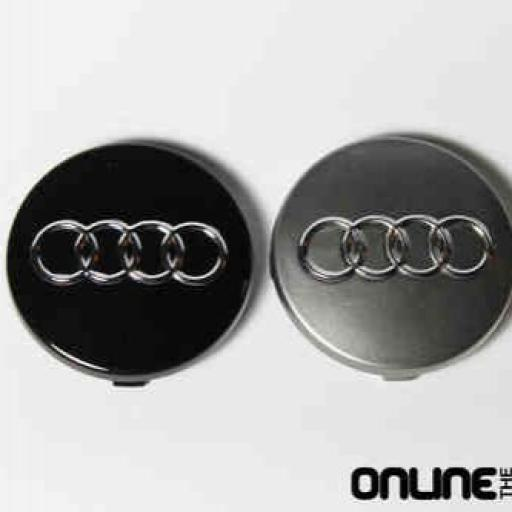 "60 x 56 mm. Tapa Buje Rueda ""Audi""   Color  Gris Oscuro  Diametro: Exterior 60mm. Interior 56mm."" [3]"