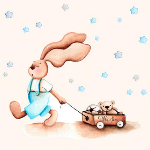 VINILO INFANTIL: Conejito con carro y estrellas azules [2]