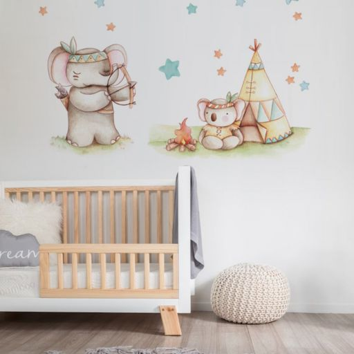 VINILO INFANTIL: Elefante y koala indios [1]