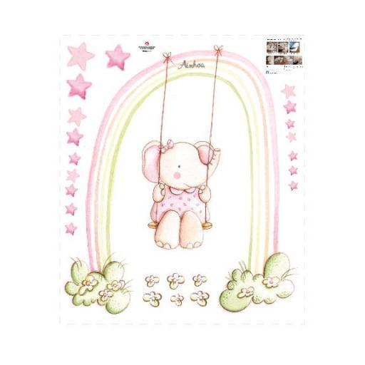 VINILO INFANTIL: Elefantita arcoiris [2]