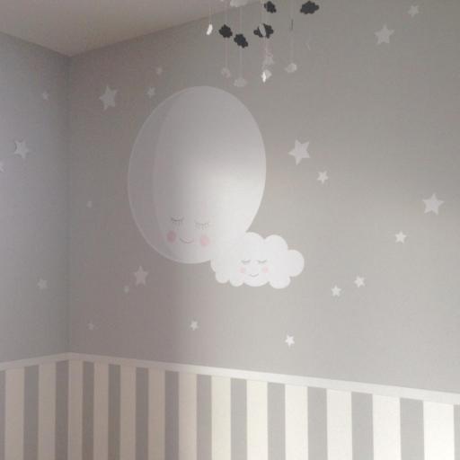 VINILO INFANTIL: Luna con nube y estrellitas [2]