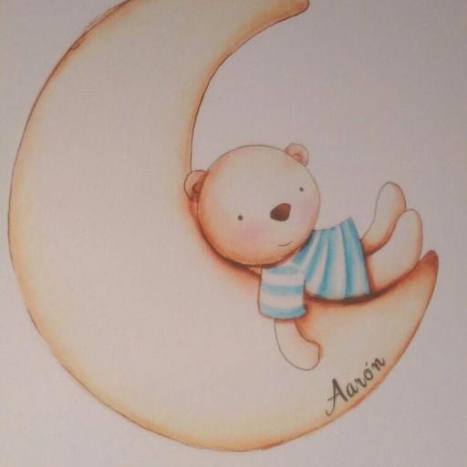 VINILO INFANTIL: Ositos con luna, nube y estrellas [1]