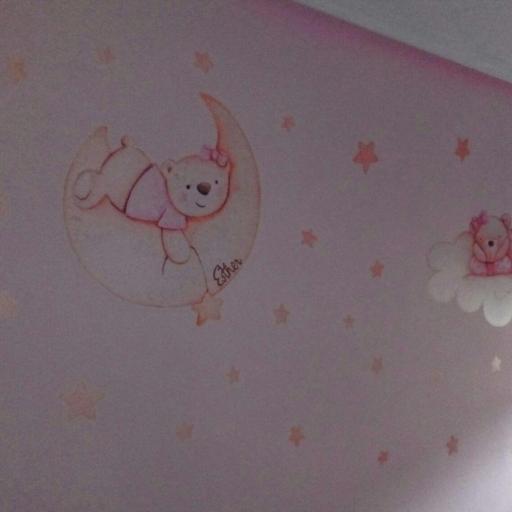 VINILO INFANTIL: Ositas en la luna, nube y estrellas [1]