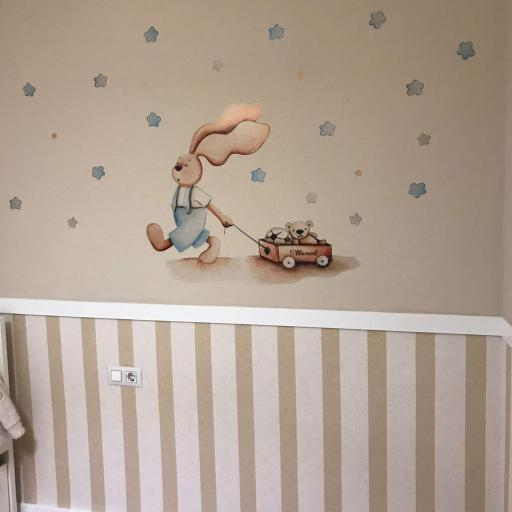 VINILO INFANTIL: Conejito con carro y estrellas azules [1]