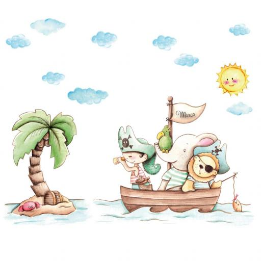 VINILO INFANTIL: Animales piratas con palmera [1]