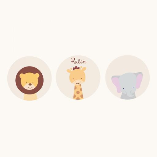 VINILO INFANTIL: 3 vinilos redondos de animales de la selva [1]