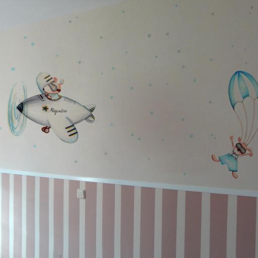 VINILO INFANTIL: Ratoncitos en avión y paracaídas [2]