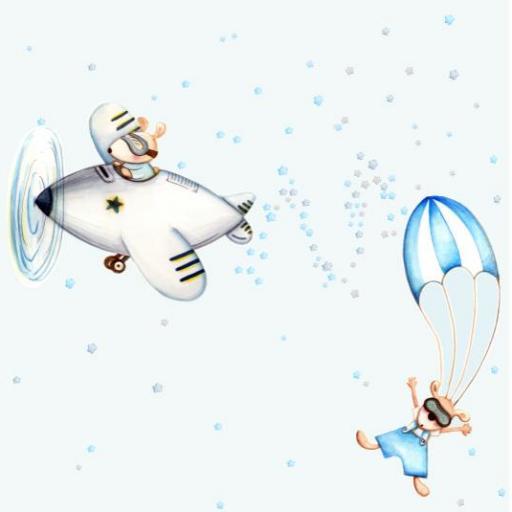 VINILO INFANTIL: Ratoncitos en avión y paracaídas [1]