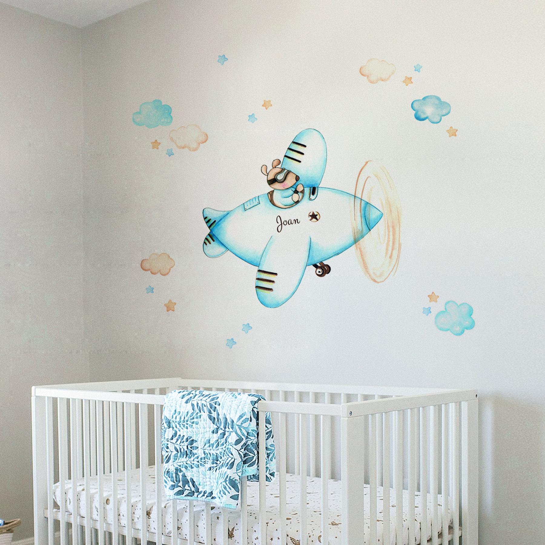 VINILO INFANTIL: Ratoncito con avión azul