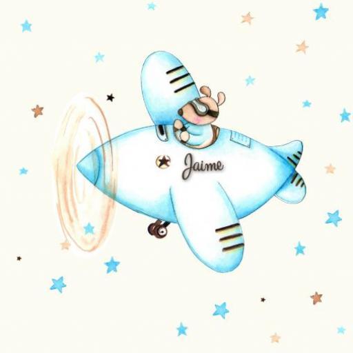 VINILO INFANTIL: Ratoncito con avión azul [2]
