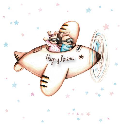VINILO INFANTIL: Ratoncitos en avión y estrellas [1]