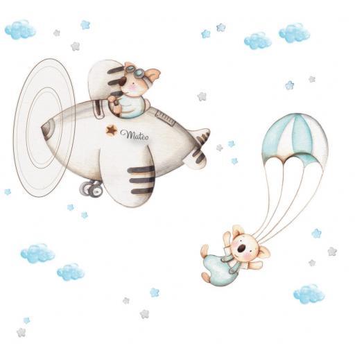 VINILO INFANTIL: Koalas en avión y paracaídas [1]