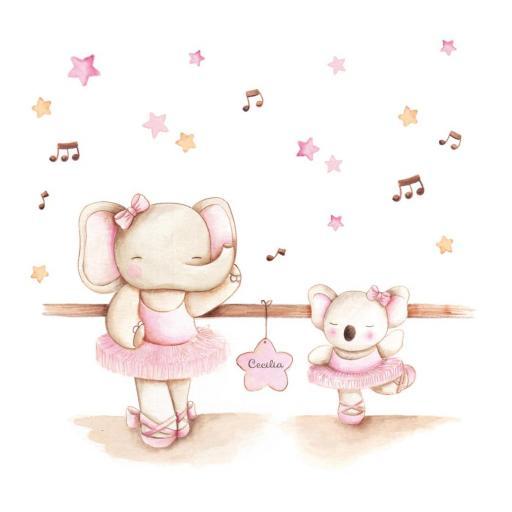 VINILO INFANTIL: Elefanta y koala bailarinas [2]