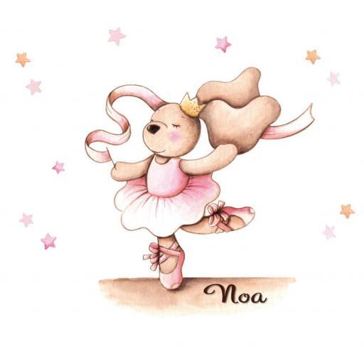 VINILO INFANTIL: Conejita bailarina con cinta y estrellitas [2]