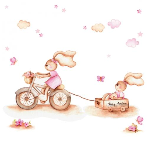 VINILO INFANTIL: Conejitas con bici y carro [1]