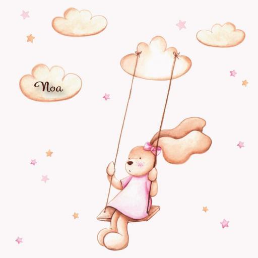VINILO INFANTIL: Conejita en columpio [2]
