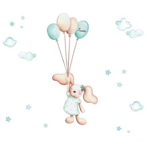 VINILO INFANTIL: Conejita con globos [1]
