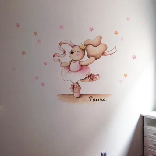 VINILO INFANTIL: Conejita bailarina con cinta y estrellitas