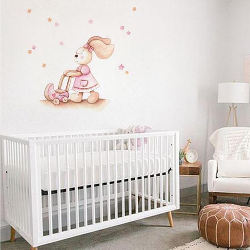 VINILO INFANTIL: conejita con carrito de bebé [1]