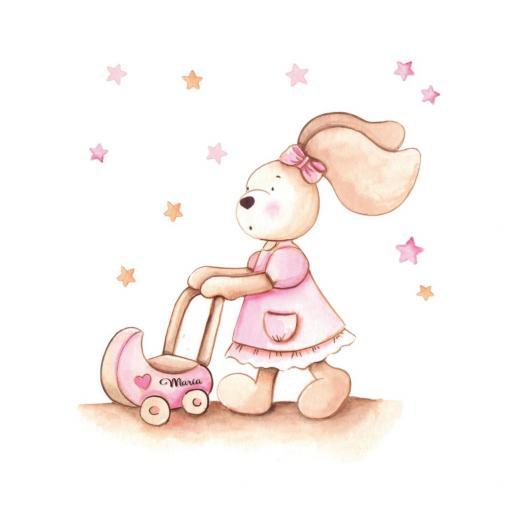 VINILO INFANTIL: conejita con carrito de bebé [2]