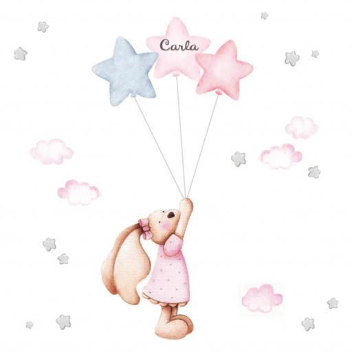VINILO INFANTIL: conejita con globos y estrellas [1]