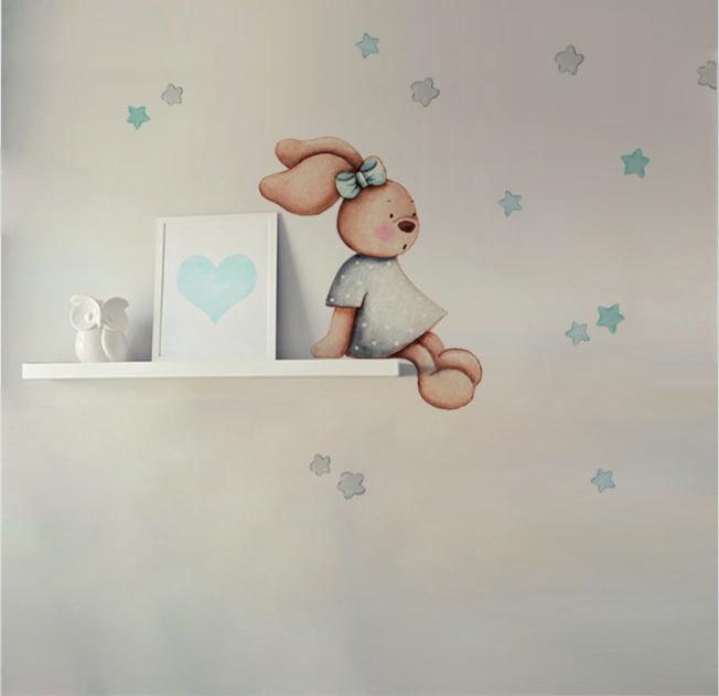VINILO INFANTIL: Conejita sentada gris/mint