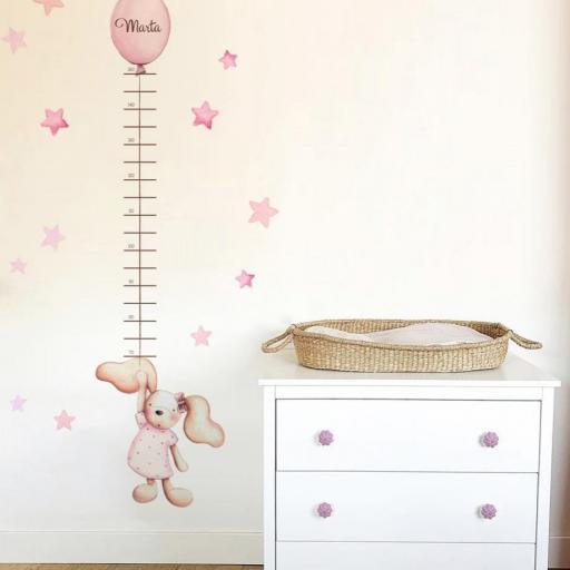 VINILO INFANTIL: Medidor conejita rosa con lazo y globo