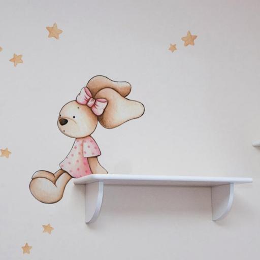 VINILO INFANTIL: Conejita sentada en estanteria [0]