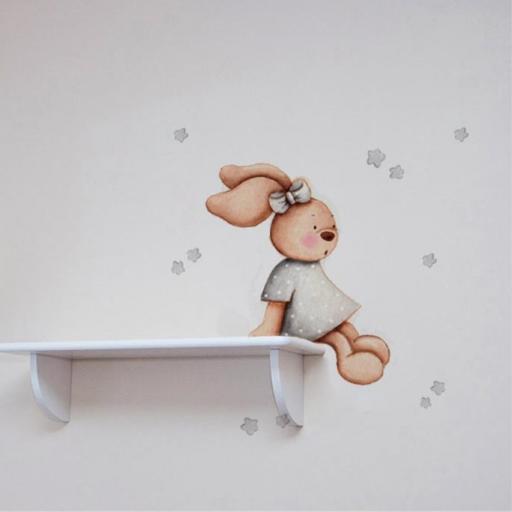 VINILO INFANTIL: Conejita sentada en estanteria en gris [0]