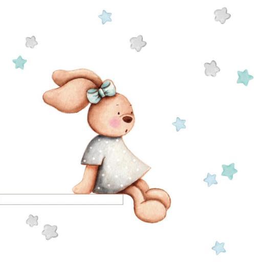 VINILO INFANTIL: Conejita sentada gris/mint [1]