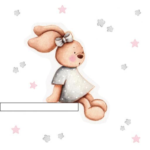 VINILO INFANTIL: Conejita sentada en estanteria en gris [1]