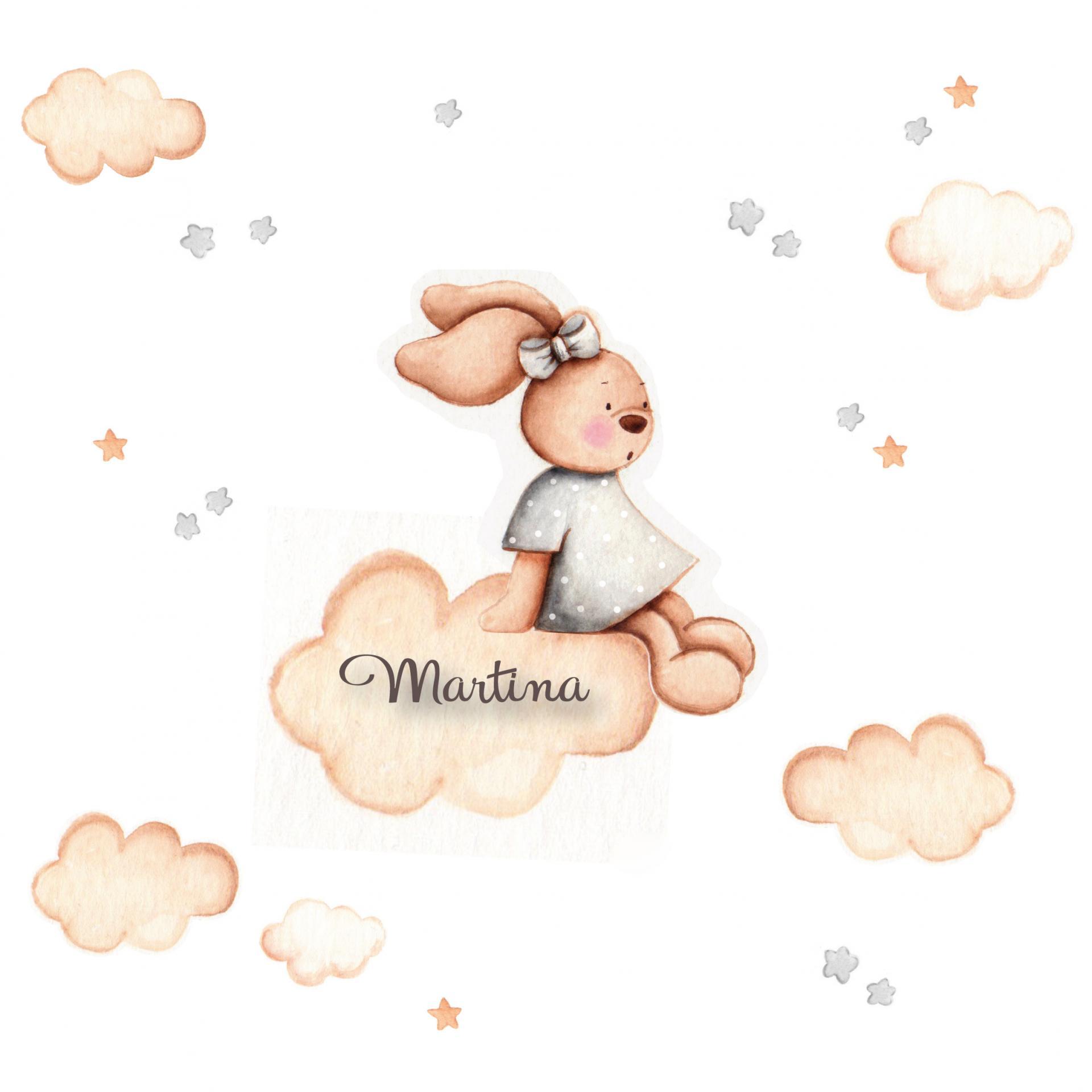 VINILO INFANTIL: Conejita sentada en tonos grises