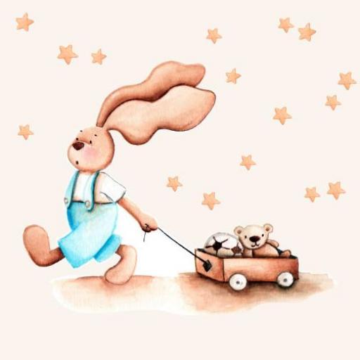VINILO INFANTIL: Conejito con carro de juguetes y estrellitas beige [1]