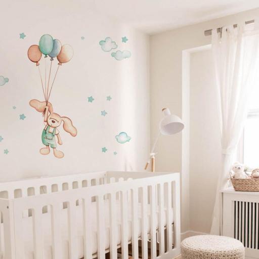 VINILO INFANTIL: Conejito con globos [0]