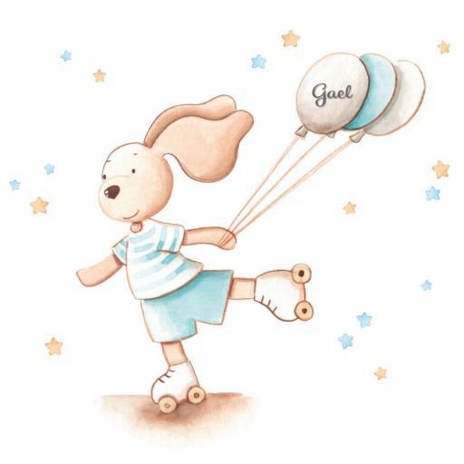 VINILO INFANTIL: Conejito con patines y globos [2]