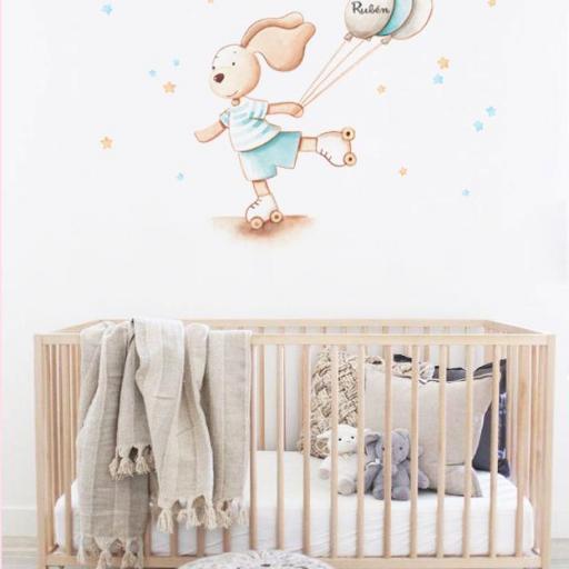 VINILO INFANTIL: Conejito con patines y globos