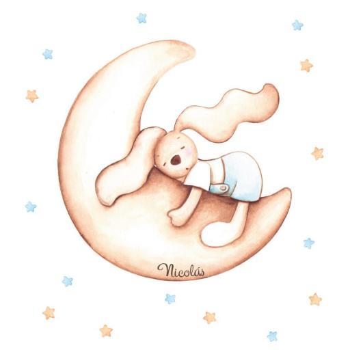 VINILO INFANTIL: Conejo en luna [2]