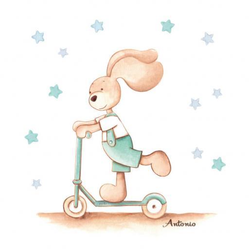 VINILO INFANTIL: Conejito con patín [1]