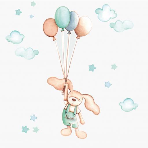 VINILO INFANTIL: Conejito con globos [2]