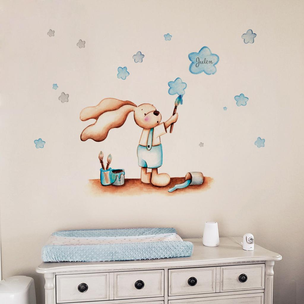 VINILO INFANTIL: Conejito pintando