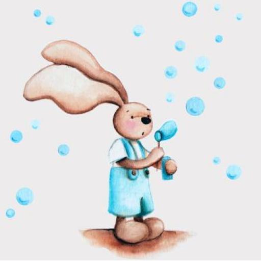 VINILO INFANTIL: Conejito haciendo pompas [1]