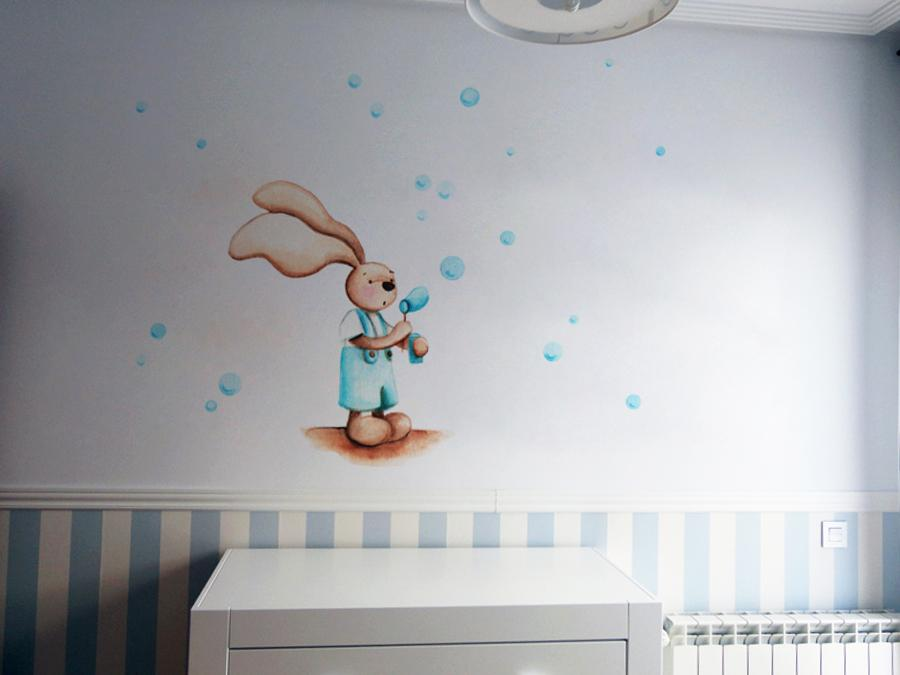 VINILO INFANTIL: Conejito haciendo pompas