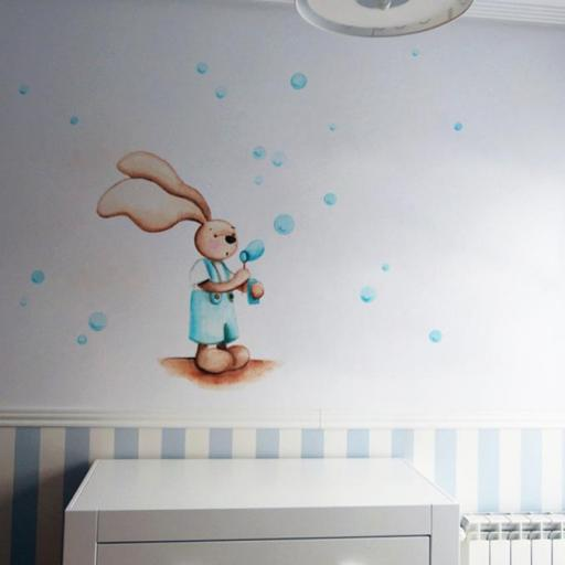 VINILO INFANTIL: Conejito haciendo pompas [0]
