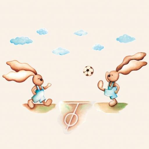 VINILO INFANTIL: Conejitos futbol [2]